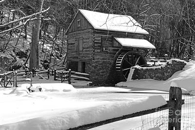 Mill In Woods Photograph - Snow On The Fence In Black And White by Paul Ward