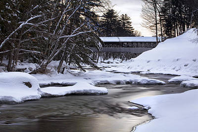 Snow On The Saco Print by Eric Gendron