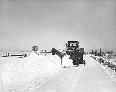 Plough Photograph - Snow Plow Clearing Roads by Underwood Archives