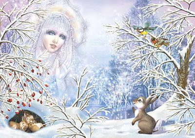 Snow Digital Art - Snow Queen by Zorina Baldescu