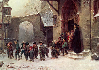 Playground Painting - Snow Scene  Children Leaving School by Marc Louis Benjamin Vautier