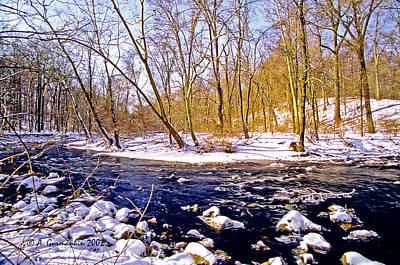 Print featuring the photograph Snow Scene Pennsylvania Woodland Stream by A Gurmankin
