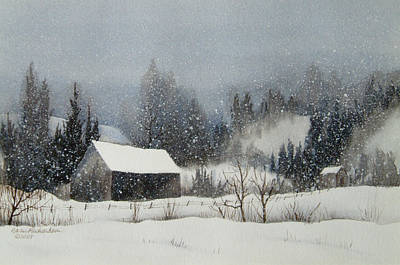 Quebec Painting - Snow Softly by Karen Richardson
