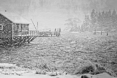 Desert Island Digital Art - Snow Storm In Bass Harbor On Mount Desert Island Maine by Keith Webber Jr