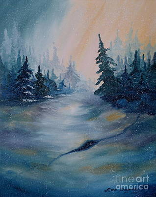 Snowscape Painting - Snowstorm by Lora Duguay