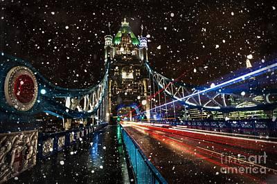 Snow Storm Tower Bridge Print by Donald Davis