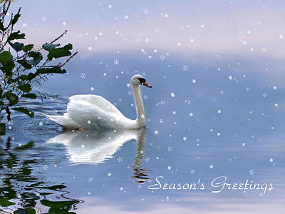 Snowflakes Digital Art - Snow Swan  by Jessica Jenney