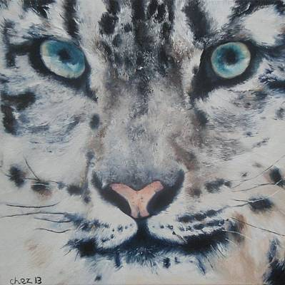Portrait Painting - Snow Tiger by Cherise Foster