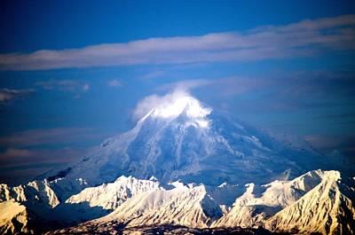 Snow Top Volcano Print by Debra  Miller