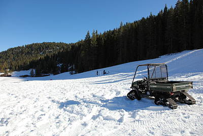Snowmobile Photograph - Snow Tractor At Squaw Valley Usa 5d27628 by Wingsdomain Art and Photography