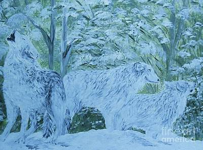Silver Moonlight Painting - Snow Wolves by Eloise Schneider