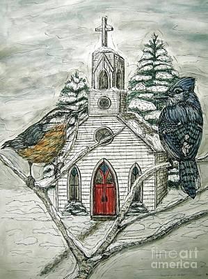 Bluejay Mixed Media - Snowbirds Visit St. Paul by Kim Jones