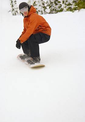 Adventuresome Photograph - Snowboarder Going Down Snowy Hill by Leah Hammond