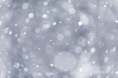 Snowfall Background Print by Elena Elisseeva
