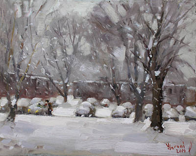 Snowfall In Royal Park Apartments Print by Ylli Haruni