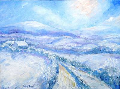 Snowfall On The Laneway  Print by Trudi Doyle