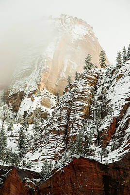 Snowfall Zion National Park Utah Print by Robert Ford