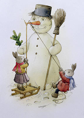 Carrot Drawing - Snowman And Hares by Kestutis Kasparavicius
