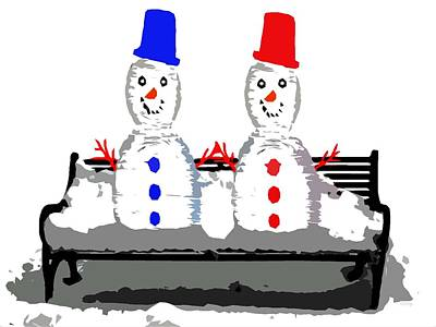 Snow-covered Landscape Mixed Media - Snowman And Snowwoman Holding Hands by Patrick J Murphy