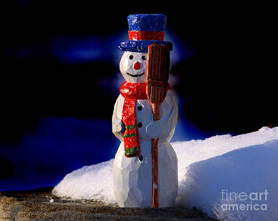 Handcarved Photograph - Snowman By George Wood by Karen Adams