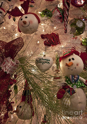 Snowman Christmas Tree Print by Joann Copeland-Paul