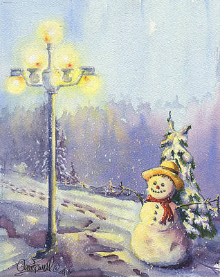 Night Lamp Painting - Snowman Enyoying The Light by Glenn Farrell
