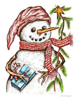 Carrot Drawing - Snowman by Karen Sirard