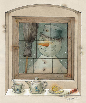 Breakfast Drawing - Snowman by Kestutis Kasparavicius