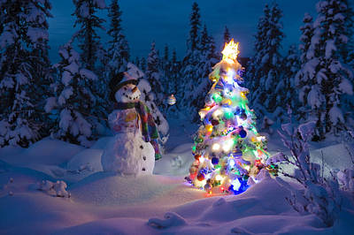 Snowman Stands In A Snowcovered Spruce Print by Kevin Smith