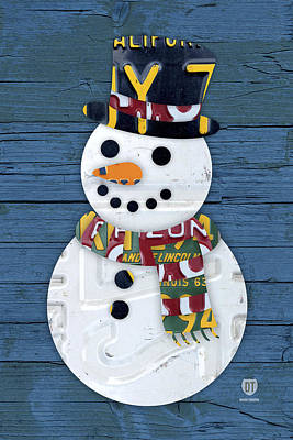 Snow Art Mixed Media - Snowman Winter Fun License Plate Art by Design Turnpike