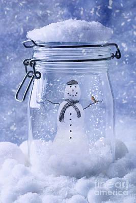 Snowman With Robin Print by Amanda Elwell