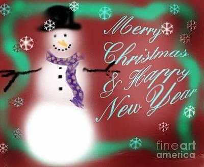 Snowmans Merry Christmas Original by Genevieve Esson