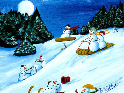 Snowboarding Painting - Snowmans Winter Sports by Anthony Dunphy