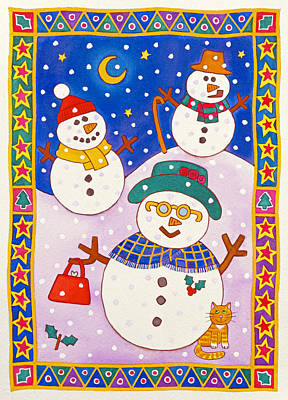 Snowy Night Painting - Snowmen In The Snow  by Cathy Baxter