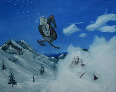 Docking Painting - Snowmobiles by Nick Froyd