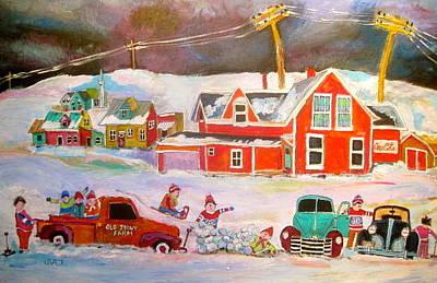 Litvack Painting - Snowstorm Helpers Montreal Memories by Michael Litvack