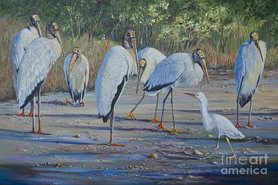 Fauna Painting - Snowy And The Seven Storks by AnnaJo Vahle
