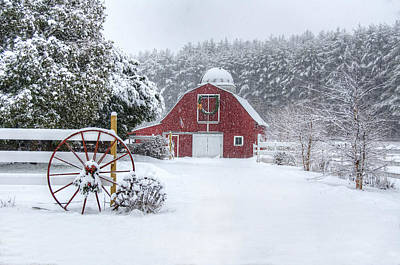 Cold Photograph - Snowy Barn by Donna Doherty