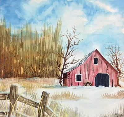 Snowy Barn Print by Rebecca Davis