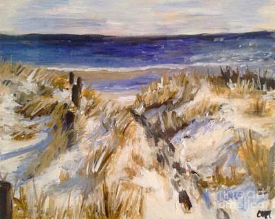 Snowy Beach Day Print by Catherine Maroney