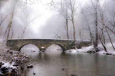 Snowy Bells Mill Road Bridge Print by Bill Cannon