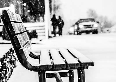 Winter Storm Photograph - Snowy Bench by Shelby  Young