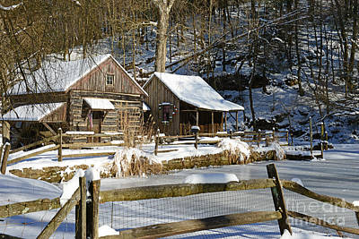 Mill In Woods Photograph - Snowy Cabins by Paul Ward