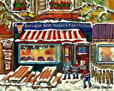 Hockey Painting - Snowy Day Sherbrooke Street Hockey Game At The Bar B Q Montreal Winter Fun Carole Spandau by Carole Spandau