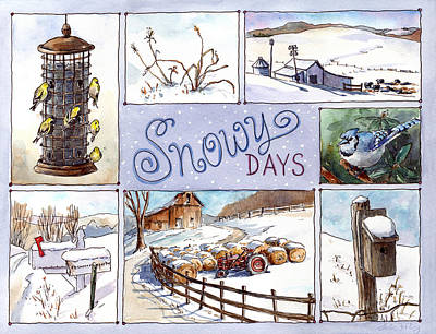 Snowy Days Print by Leslie Fehling