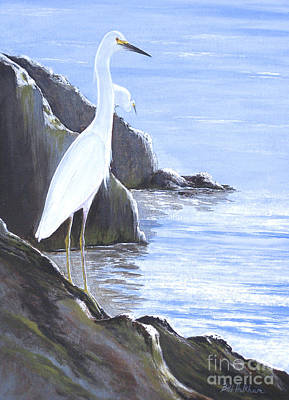 Venice Beach Painting - Snowy Egret by Bill Holkham