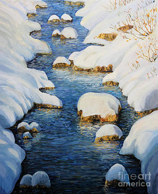 Christmas Holiday Scenery Painting - Snowy Fairytale River by Kiril Stanchev