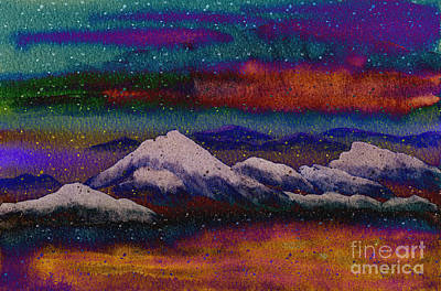 Snowy Mountains On A Colorful Winter Night Print by Beverly Claire Kaiya