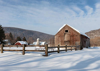 Snowy New England Barns Print by Bill Wakeley