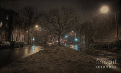 Snowy Nights Print by Kenny  Noddin